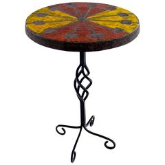 Italian Modern Wrought Iron and Ceramic Side Table