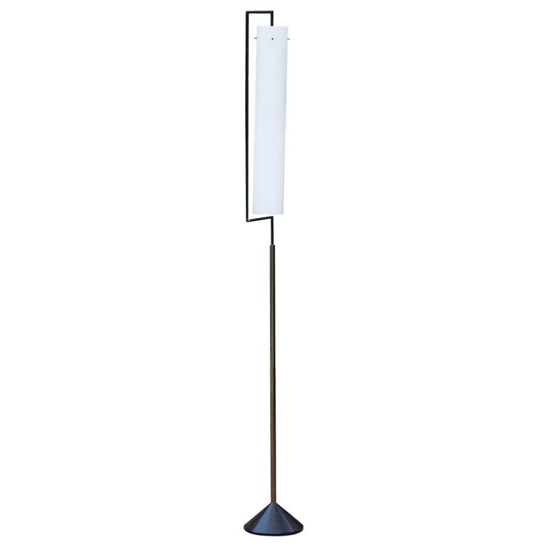 Elegant Stilnovo Floor Lamp Opaline Glass Shade, circa 1962