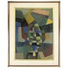 Abstract Modernist Oil Painting by Harold Mesibov, Dated 1953