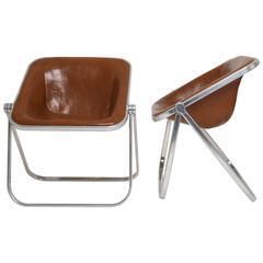 1969, Giancarlo Piretti, Castelli, Pair of Plona Cognac Leather Folding Chairs