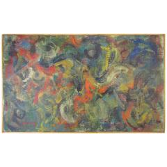 Modernist Abstract Oil by Sidney Zimmerman, Dated 1960
