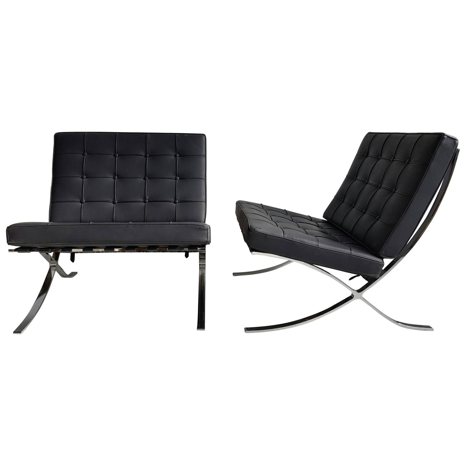 classic pair modernist barcelona chairs mies van der rohe. Black Bedroom Furniture Sets. Home Design Ideas