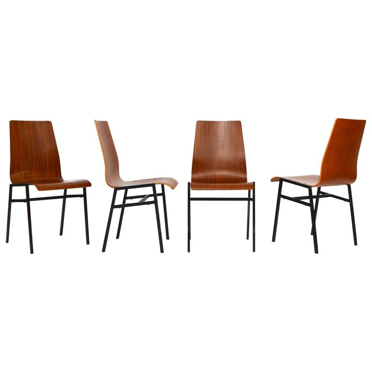 100x Exceptional Teak Plywood Stacking Chairs, 1960s