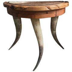 Demilune Antler Folk Art Table with Hide and Nailhead Top