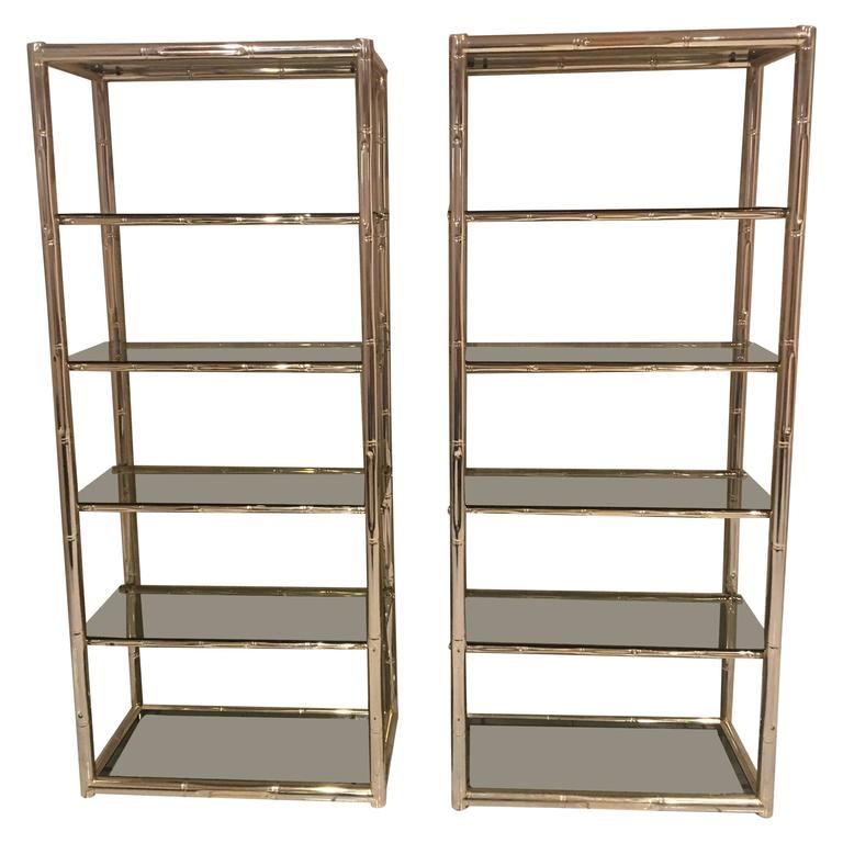 pair faux bamboo brass etageres glass display shelves hollywood regency metal for sale at 1stdibs. Black Bedroom Furniture Sets. Home Design Ideas