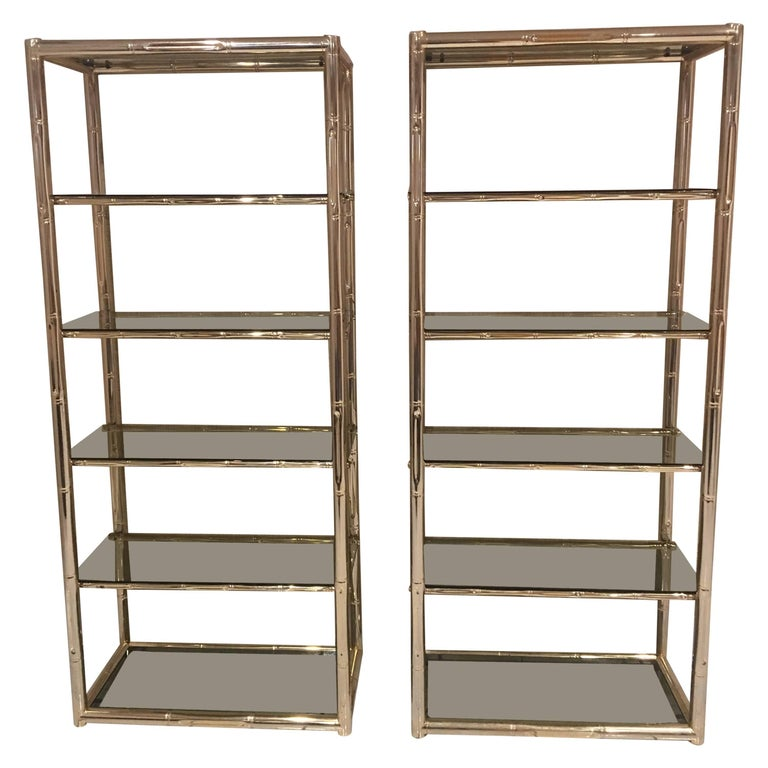 Pair Faux Bamboo Brass Etageres Glass Display Shelves Hollywood Regency Metal For Sale