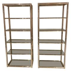 Pair Faux Bamboo Brass Etageres Glass Display Shelves Hollywood Regency Metal