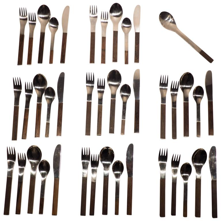 "Carl Auböck ""Duo"" Flatware Service for Eight For Sale"