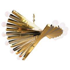 Vintage Brass and Chrome Sciolari Twelve-Light Bulbs Spiral Chandelier
