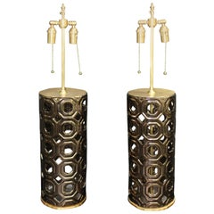 Elegant Bronze Ceramic Vessels with Lamp Application with Brushed Brass Hardware