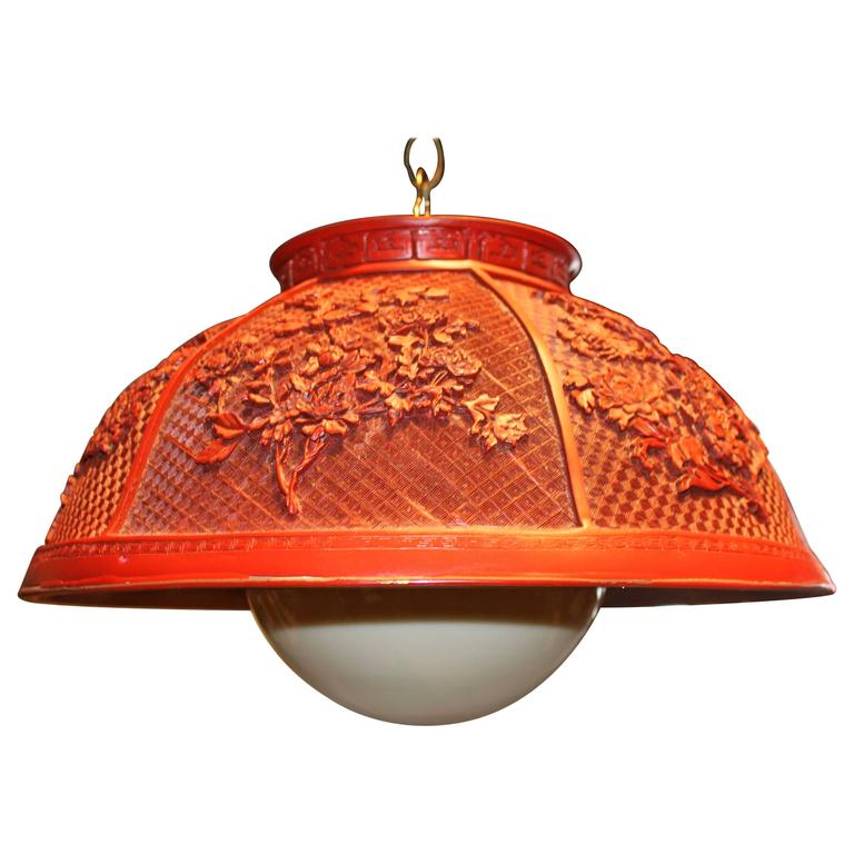 Vintage Faux Chinese Cinnabar Pendant Light For Sale