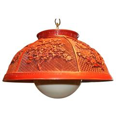 Vintage Faux Chinese Cinnabar Pendant Light