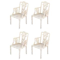 Highly Decorative Set of Four-Branch Faux-Bois Chairs