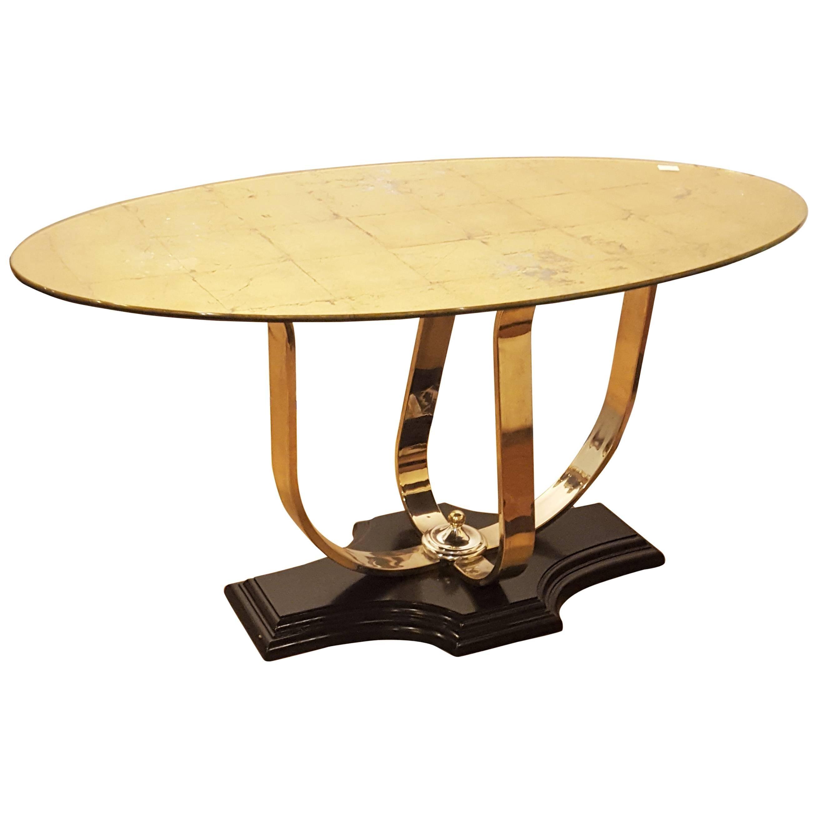 Art Deco Gilt Glass Oval Center Table Chrome Base Hollywood Regency Style