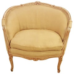 Louis XV Style Distressed Barrel Back Armchair Carved Frame With Rosettes