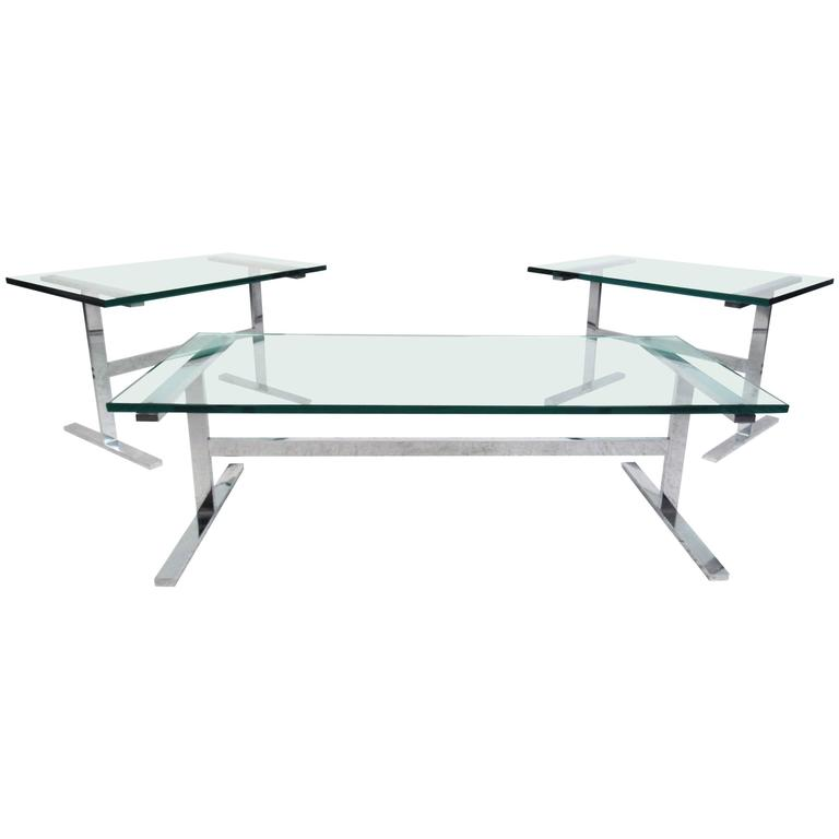 Mid Century Chrome Coffee Table Set