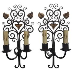 Pair of French Iron Two-Arm Sconces