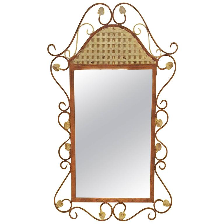 Rustic Scroll: Rustic Metal Wall Mirror With Decorative Scroll Design For