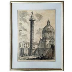 Antique Lithograph of Colonna Trajana by Giovanni Battista Piranesi, Gilt Frame