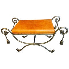 Mid-Century French Tassel Bench of Solid Steel with Original Leather Top