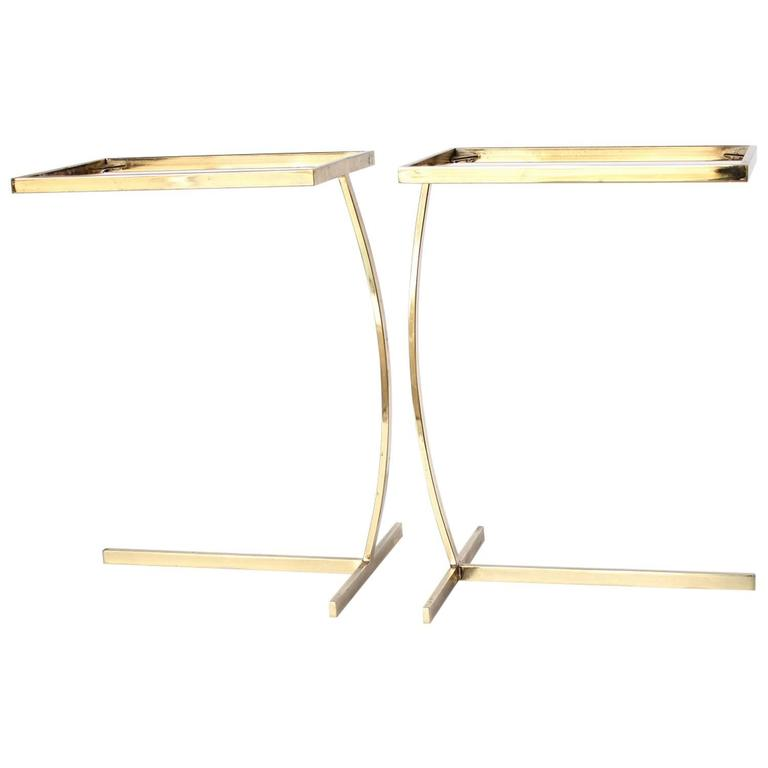 Mid-Century Milo Baughman Style Brass Side Tables