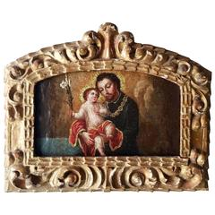 19th Century Spanish Colonial Painting on Panel of Joseph and Child Orig Frame