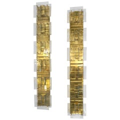1980s Italian Pair of Modern Gold Brass Monumental Sconces with Aqua Tint Glass