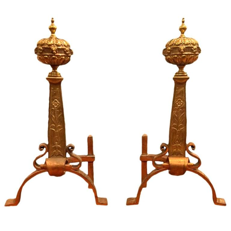 Pair of Brass and Copper 19th Century English Andirons 1