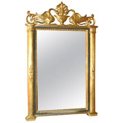 19th Century Gilded Mirror with Swan Motif