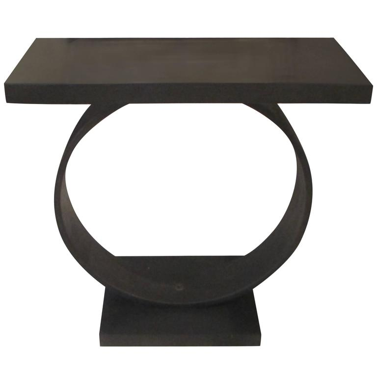 Sculptural Steel Console with Stone Top by Sloane 1