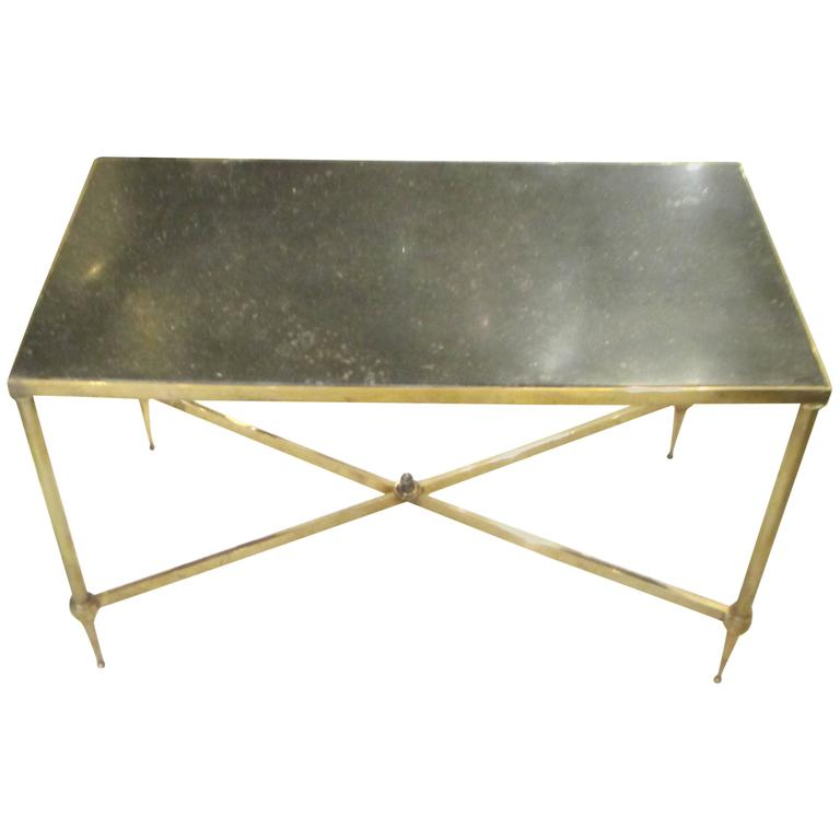 Bagues Brass Coffee Table With Marble Top