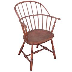 18th Century Salmon Painted Knuckle Arm Windsor Chair