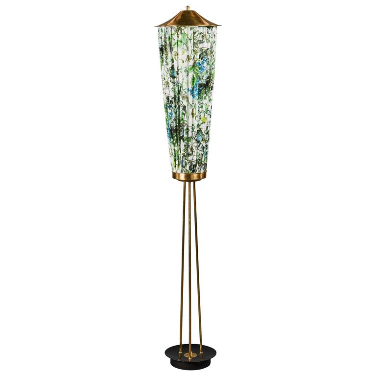 unusual gathered fabric and brass italian floor lamp for. Black Bedroom Furniture Sets. Home Design Ideas