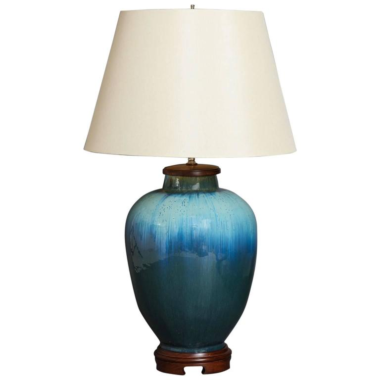 Large Deep Blue Ceramic Lamp by SCDS