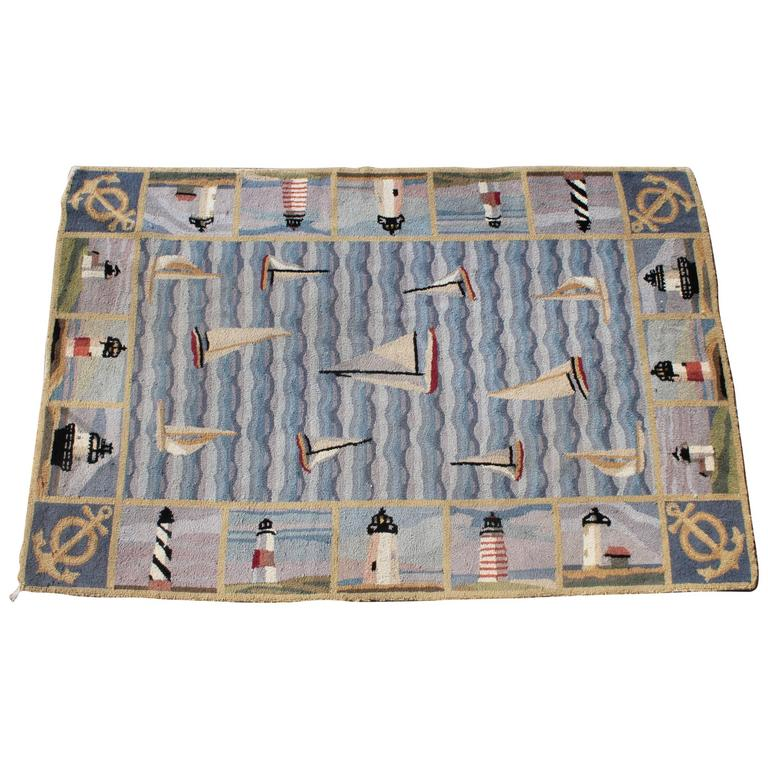 Pictorial Hand-Hooked Nautical Room Size Rug