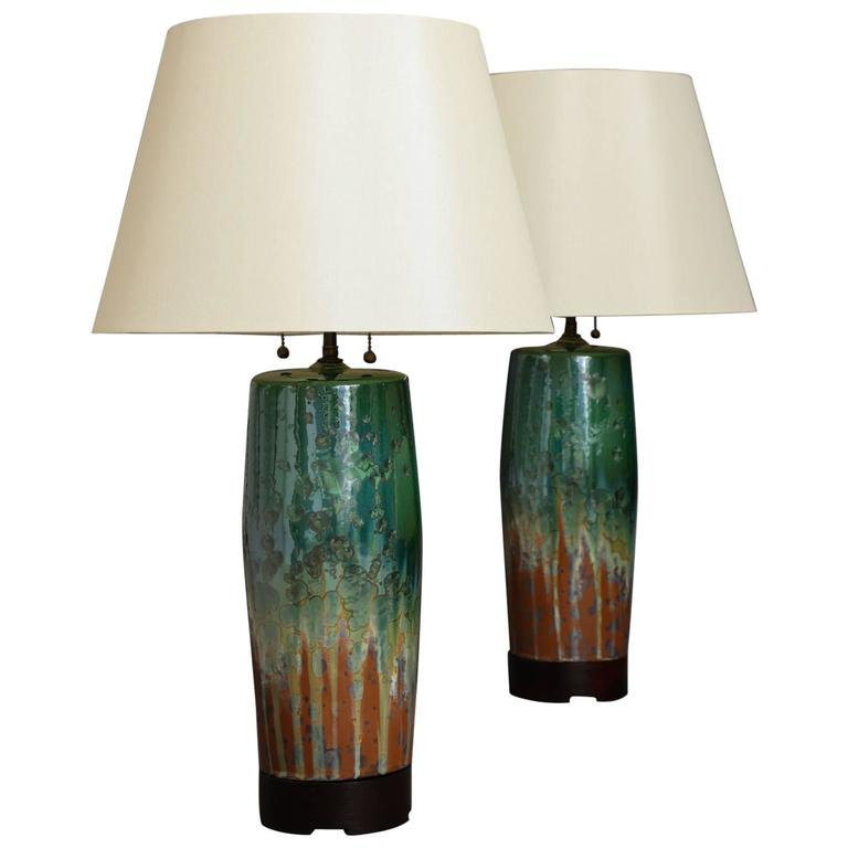 Large Green Ceramic Lamps by SCDS For Sale