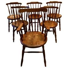 Antique Set of Six Carver Round Seat Dining Chairs