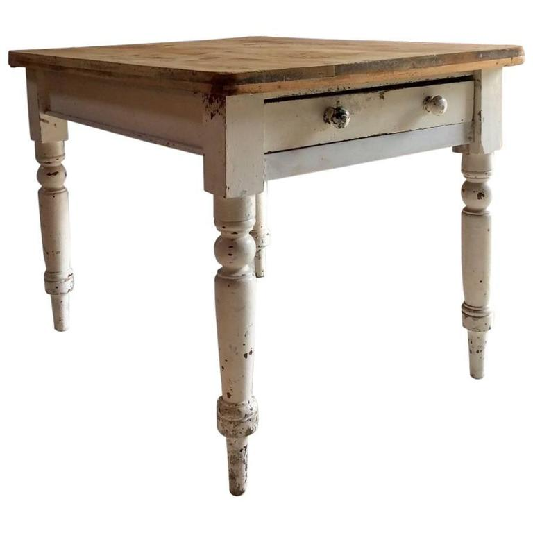 Painted distressed pine dining table kitchen at 1stdibs - Painted dining tables distressed ...