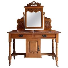 Antique Large Satin Walnut Marble-Topped Washstand, 19th Century Mirror