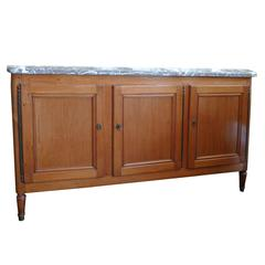 French 19th Century Three-Door Buffet with Removable Marble Top