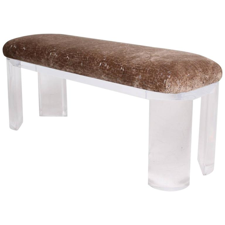 mid century modern lucite bench thick legs attributed to karl springer for sale at 1stdibs. Black Bedroom Furniture Sets. Home Design Ideas