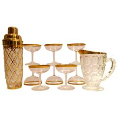 Hollywood Regency 12-Piece Glass and 22-Carat Martini Set
