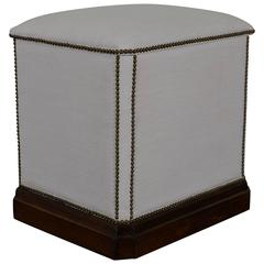 French Upholstered and Walnut Laundry Hamper, 19th Century