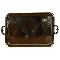 Large Italian Brass and Bronze Handled Serving Tray, Early 18th Century