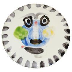 """Pablo Picasso """"Visage No. 202"""" Ceramic Plate Madoura, Vallauris"""