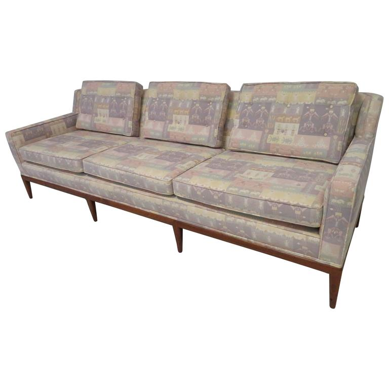 Handsome Paul McCobb Style Walnut Three-Seat Sofa, Mid-Century Modern