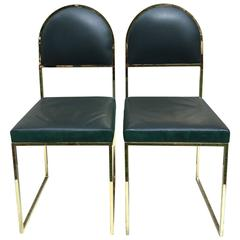 Pair of Willy Rizzo Metal and Leather Chairs