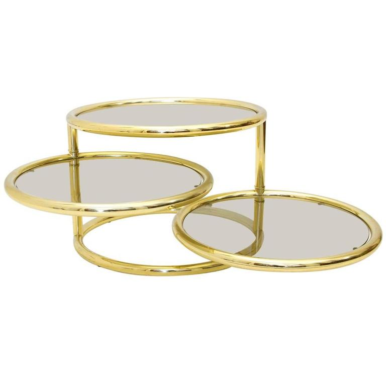 Italian Round Brass And Glass Coffee Table 1950s At 1stdibs