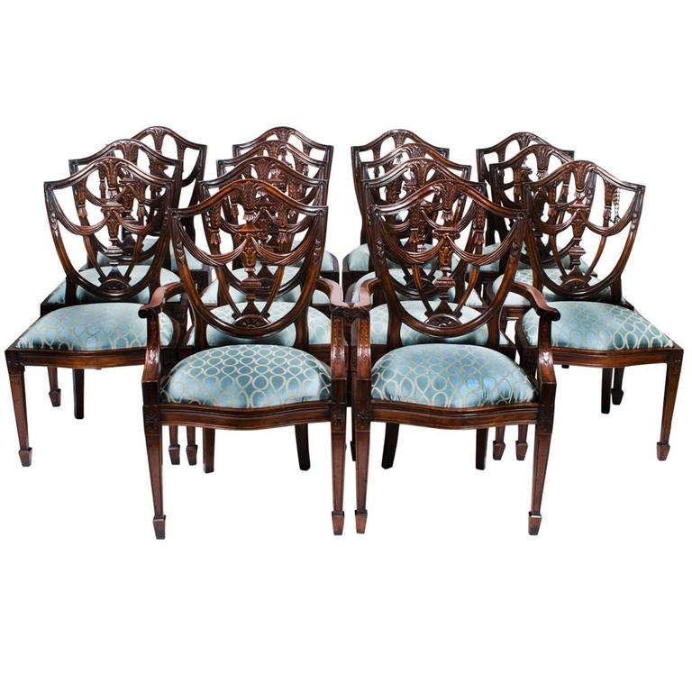 Vintage Set of 14 Federal Shield Back Dining Chairs at 1stdibs