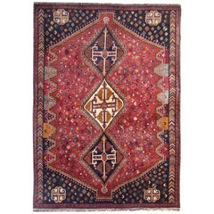 Tribal Persian Rugs, Vintage Rugs from Shiraz with Animal Motif